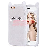 Accesorii GSM - Toc silicon 3D CAT: Toc silicon 3D CAT Apple iPhone X / XS Silver Glitter