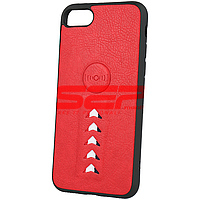 Accesorii GSM - Leather Back Cover: Toc TPU Leather Arrow Apple iPhone SE 2020 Red
