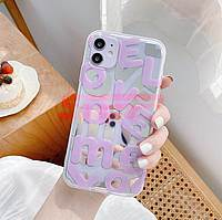 Accesorii GSM - Toc TPU IMD: Toc TPU IMD LOVE Letters Apple iPhone 12 Pro PURPLE